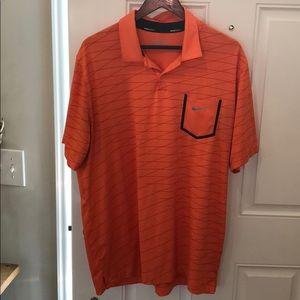 Nike Golf Polo Shirt Large Orange